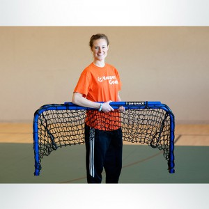 Model #ALUM42. Black Folding Aluminum Soccer Goal Powdered Coated Royal Blue with Black Net Folded Up.