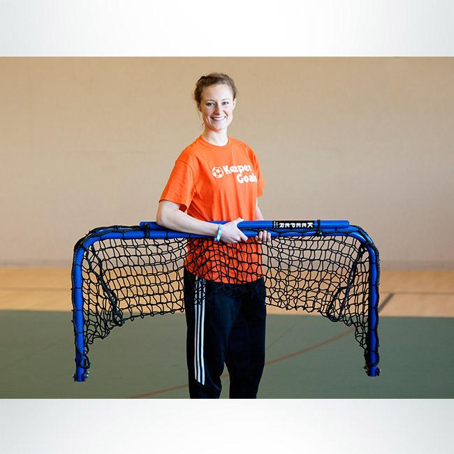 Model #ALUM42. Folding aluminum soccer goal powder coated royal blue with black net, folded up.
