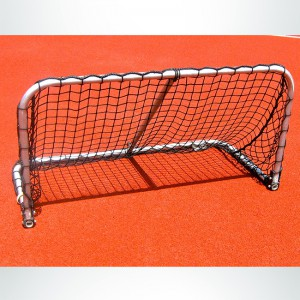 Model #ALUM42. Black Folding Aluminum Soccer Goal Powdered Coated White with Black Net.