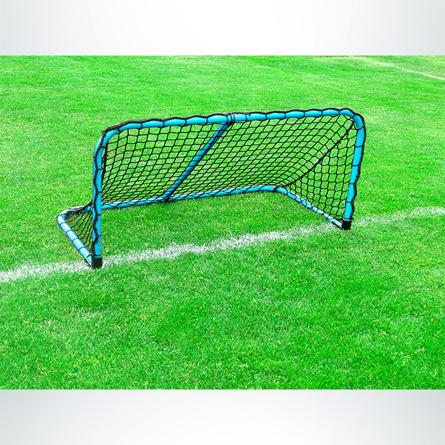 Model #ALUM42. Folding aluminum soccer goal powder coated light blue with black net.