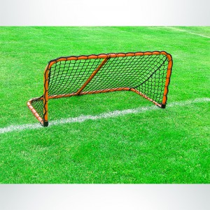 Model #ALUM42. Black Folding Aluminum Soccer Goal Powdered Coated Orange with Black Net.