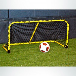 Model #ALUM42. Black Folding Aluminum Soccer Goal Powdered Coated Yellow with Black Net.