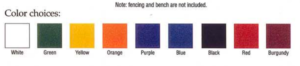 Model #DG-10 Color choices for World Series Dugouts.
