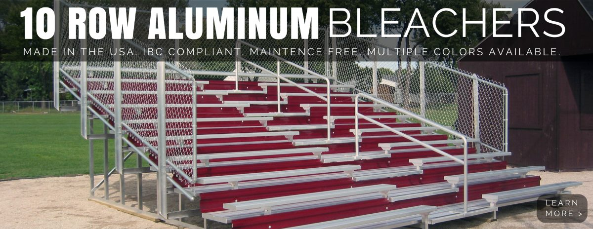 10 Row Bleachers with Red Risers.