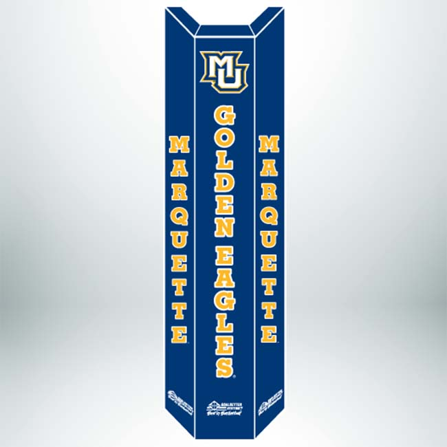 "Model #PC824MAR2. Marquette University Navy Blue Basketball Pole Pad for 4"", 5"" or 6"" Square Poles. Also Avialable in Black."