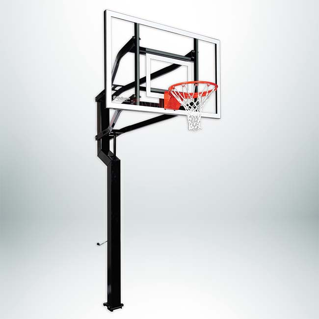 Signature Series Captain adjustable basketball hoop available with glass or acrylic backboard.