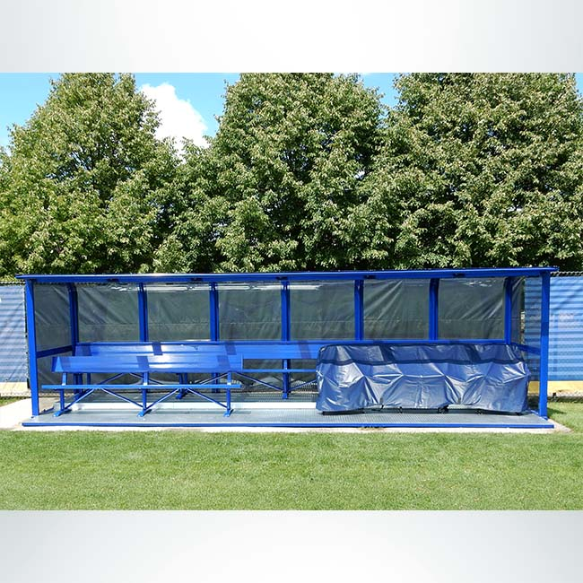 Custom deluxe team shelter with custom double benches and custom logo seats covered.
