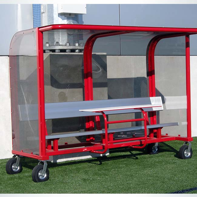 Model #EPPS8. 8' deluxe team shelter pictured with optional scorer's table. Scorer's table available for additional cost.