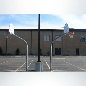 Model #KG460-SS-UR. 60 degree gooseneck basketball pole with backboard and ultimate rim. Ideal for playground use.