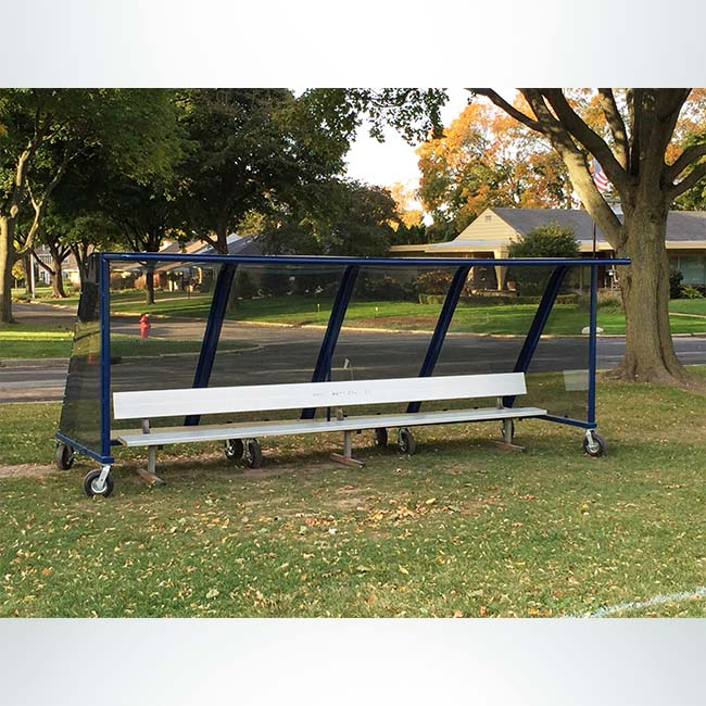 Model #PPS16 Deluxe standard style heavy duty team shelter. Aluminum bench with wheels. 16 Feet. Mt Mary College.