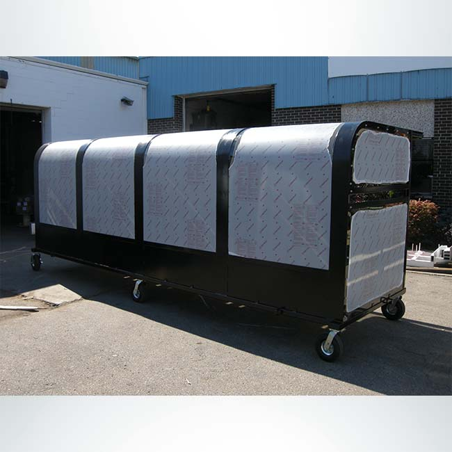 Model #PPS16BOXDELUXE. 16' Deluxe Box Style Shelter with Wood Bench and Wheels. Packed to Ship.