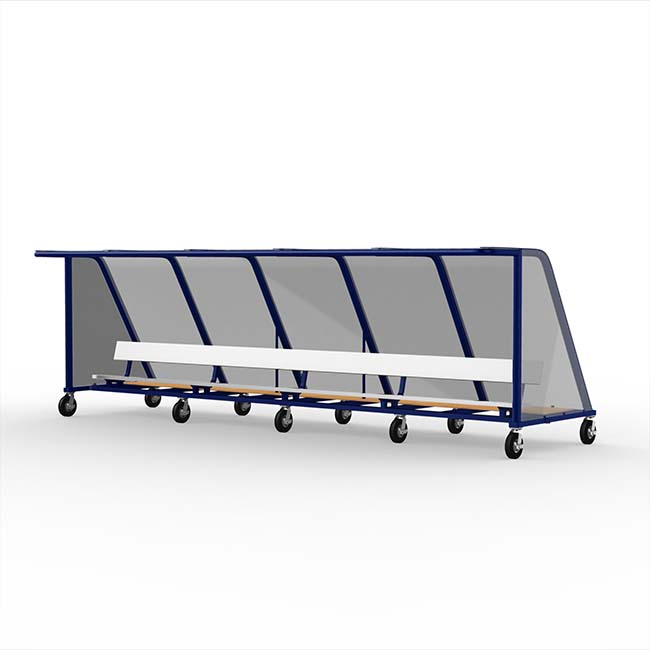 Model #PPS20. 20' Deluxe Standard Style Heavy Duty Team Shelter with Aluminum Bench and Wheels.