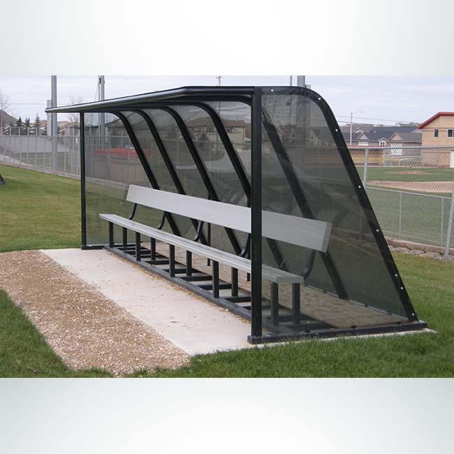 Model #PPS20. 20' Deluxe standard style heavy duty team shelter with aluminum bench, no wheels.