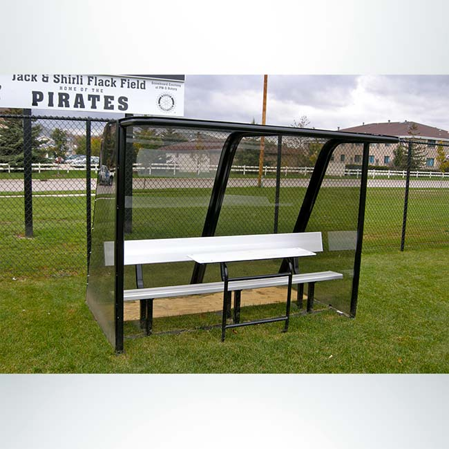 Model #PPS8. 8' deluxe standard style player shelter with aluminum scorer's table and aluminum bench.