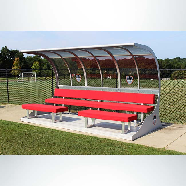 Model #PS12 Traditional Premier Sideline Shelter, 12ft, red, silver, benches