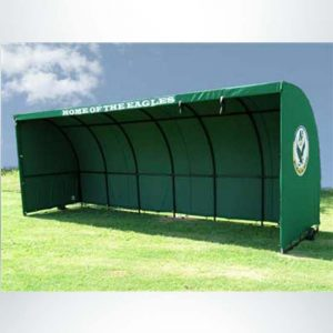 Model #SW1000 Economy Sideline Shelter. Forest green with team logo on the side.