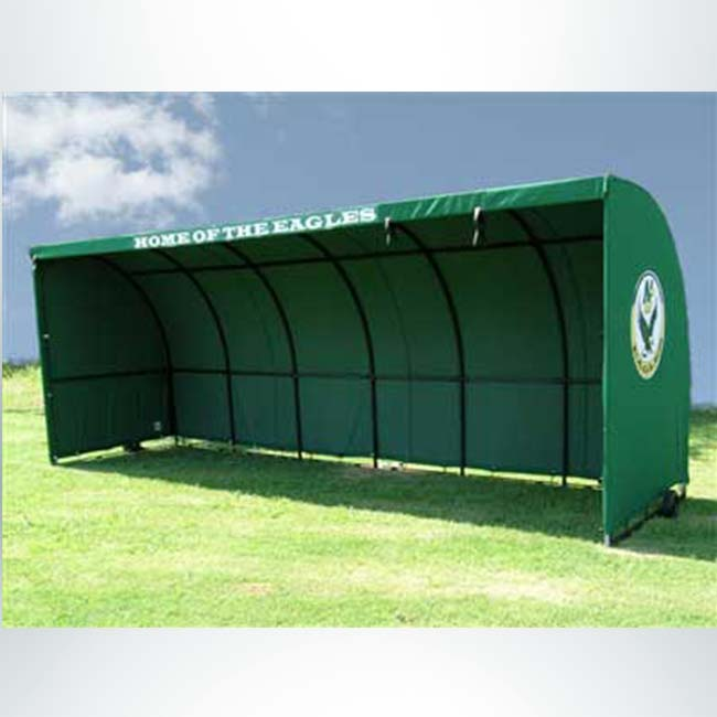 Model #SW1000. Economy sideline shelter. Forest green with team logo on the side.