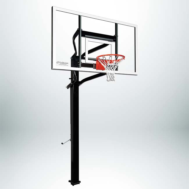 "Model #X672. Extreme Series adjustable basketball hoop with 72"" backboard and 6"" square pole."