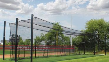 Model #BC70TUFFS1S. Soft toss stations in modular steel batting cages.