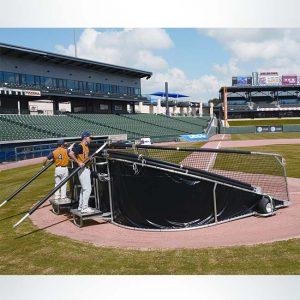 Model #BCBIGBUBBAELITE. Portable baseball batting cage, collapsed.
