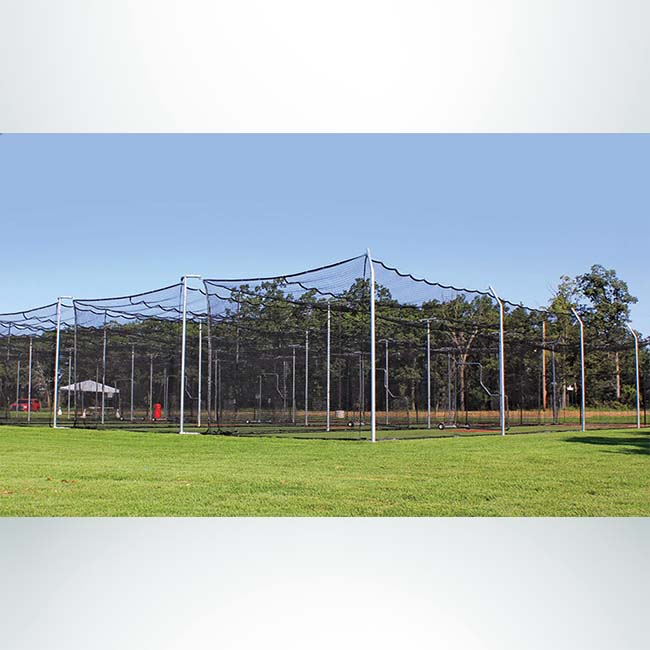 Model #BCMODOUTDOOR70P. Outdoor modular batting cage frame with nets.