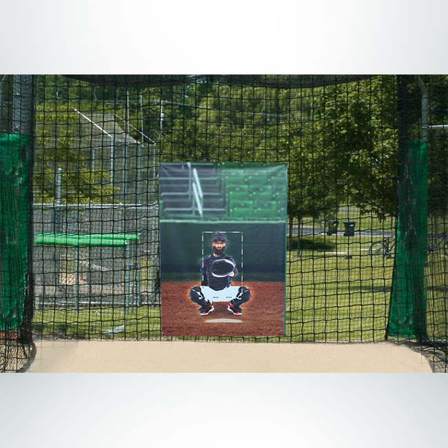 Model #BCPROTSZCAT. Vinyl 5'x7' Batting Cage Net Protector with Strike Zone Catcher.