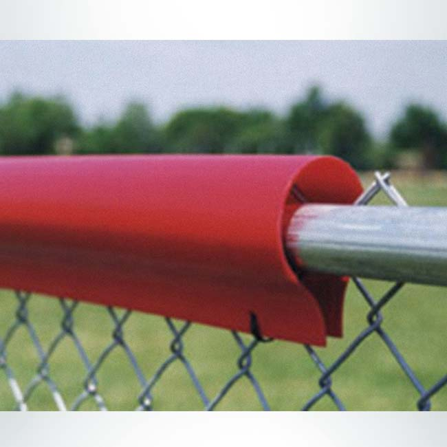 Model #FENCEG50PREM. Standard fence guard. Red with polyethylene to cover rough edges on chain link fence.