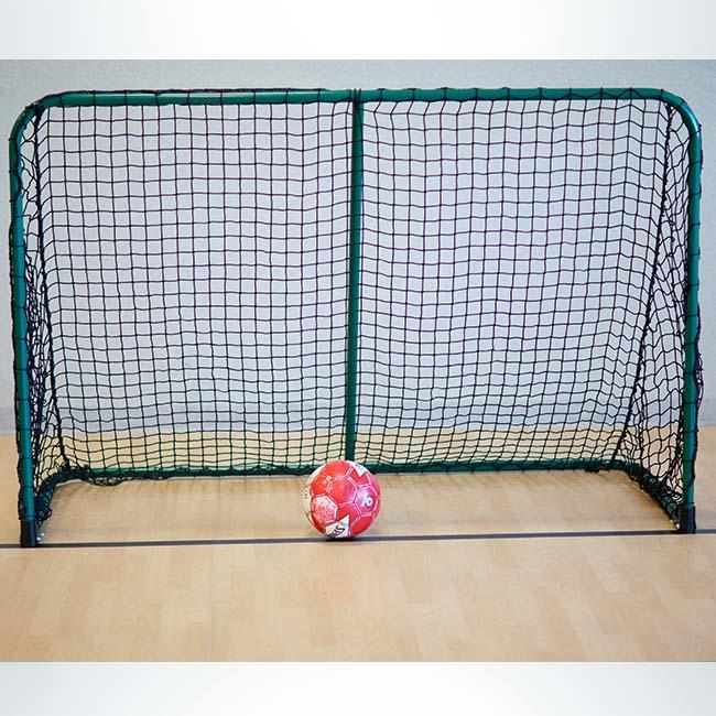 Model #ALUM64. 6' x 4' folding portable aluminum soccer goal. Green frame and black net.