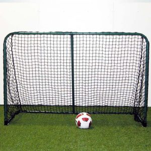 Model #ALUM64. 6'x4' Folding Portable Aluminum Soccer Goal. Black Frame and Black Net.