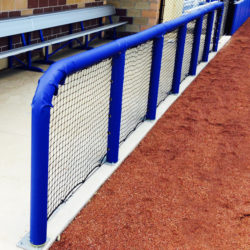 Blue Padding for Baseball Dugout Rails.