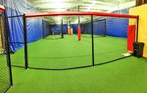 Padding for Batting Cages at Indoor Baseball Facility.