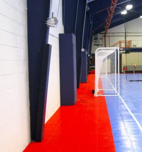 Custom post padding for futsal and volleyball courts.