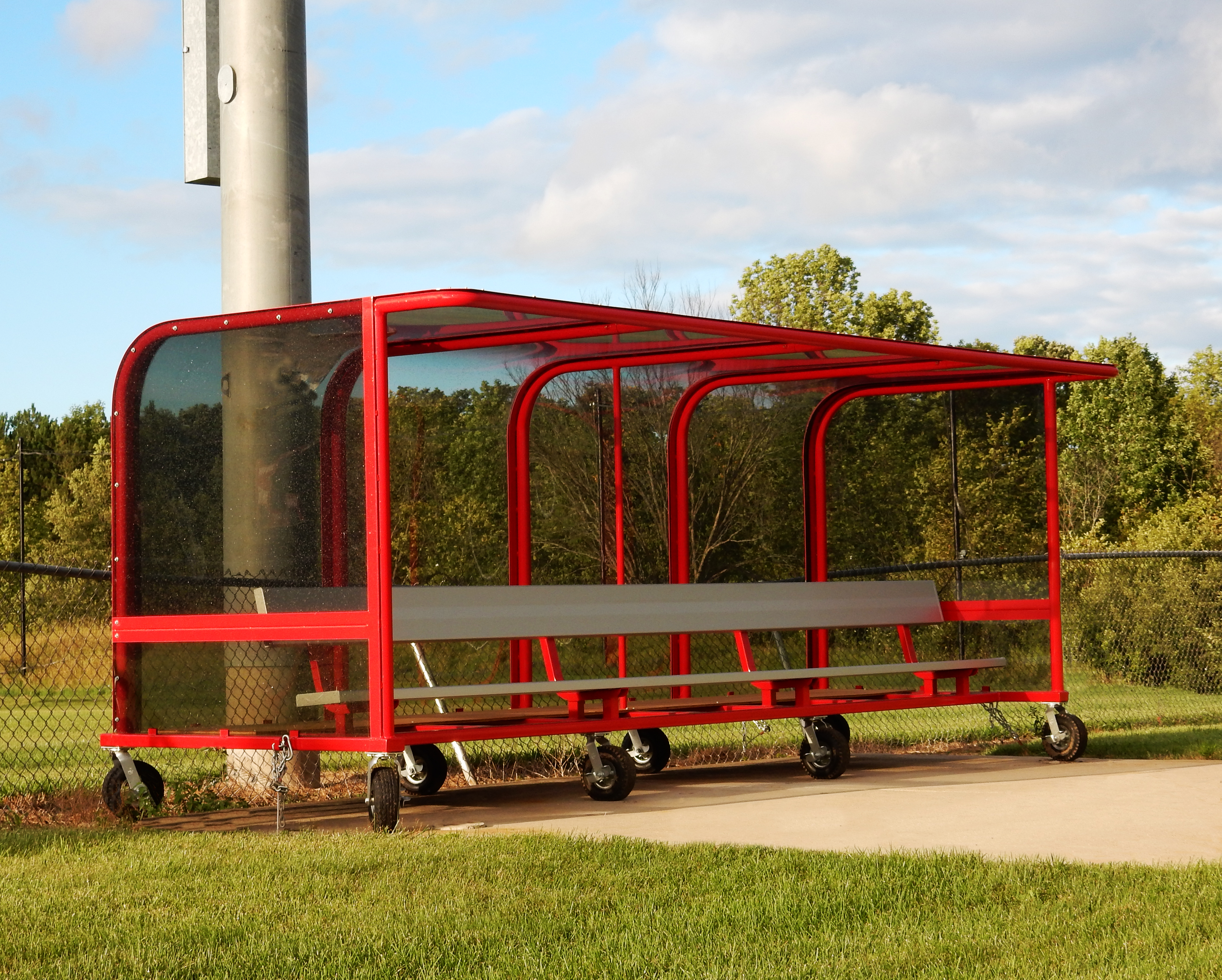 Model #PPS16PABSL. Box Style Soccer Team Shelter. Aluminum Bench, Red Frame, with Wheels.