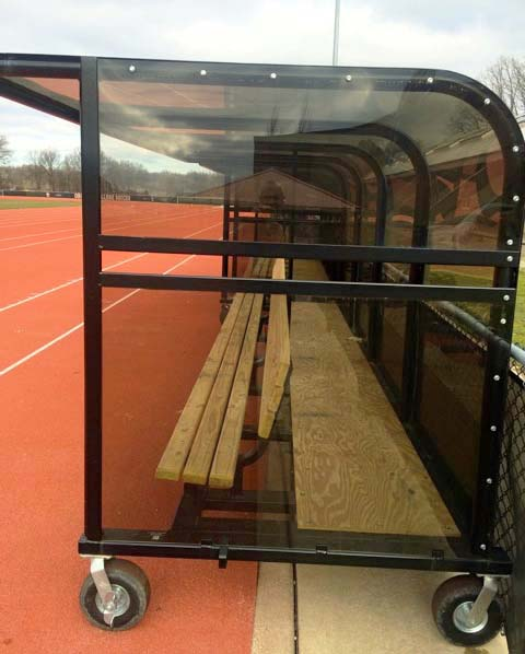 Model #PPS16WB. Box shelter. Wood bench with black frame and wheels.