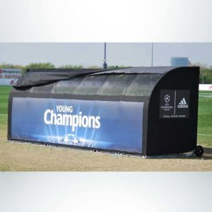Model #SW1000176. Economy Team Shelter in Black with Windows and Logo for Soccer and Lacrosse Teams.