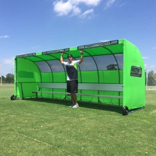 Model #SW1000176. Economy team shelter in lime green for soccer and lacrosse teams.