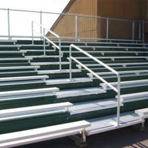 Custom 10 row bleachers with green risers.