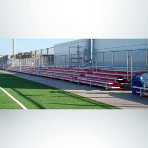 Custom 5 row bleachers with red risers.