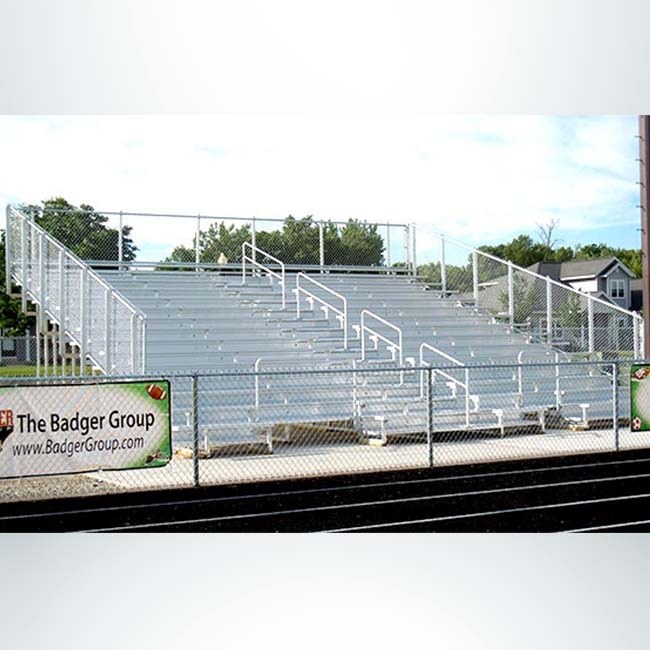 Model #B15R311GR. 15 Row Aluminum Bleachers.
