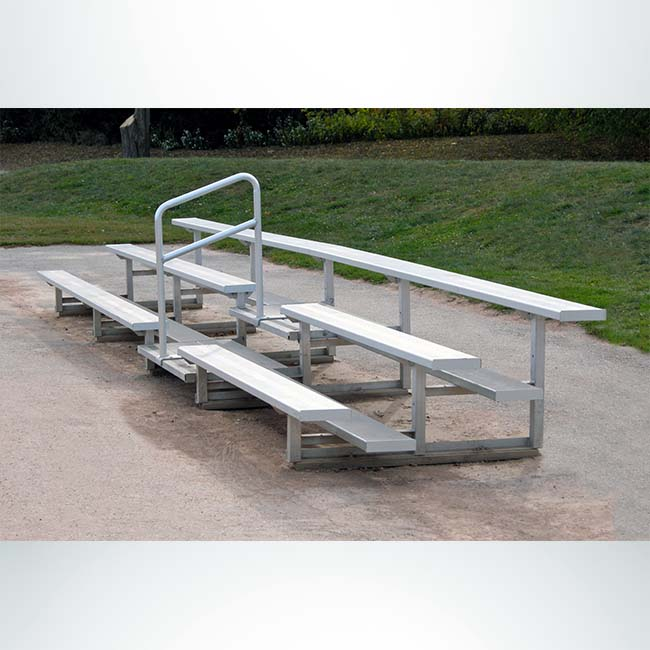 Model #B319A. 3 Row 19' Aluminum Bleacher with Railing.