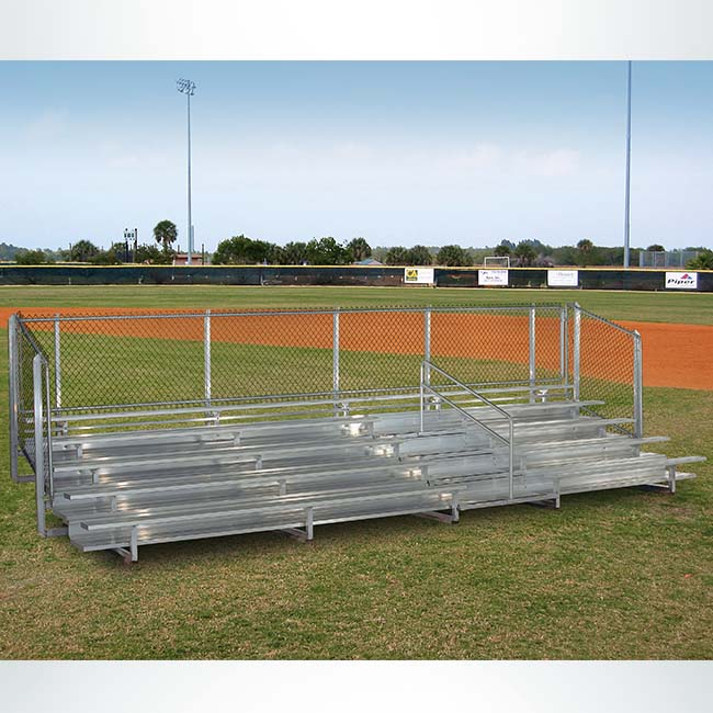 Model #B5R25A1GR. 5 row 25' aluminum bleachers. IBC compliant with guardrail.
