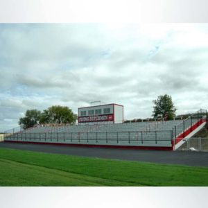 Stadium seating with press box.
