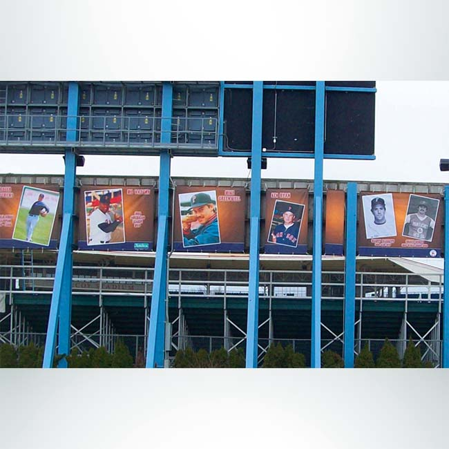 Bleacher wrap with custom logo and pictures.