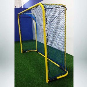 Custom futsal goal powder coated yellow.