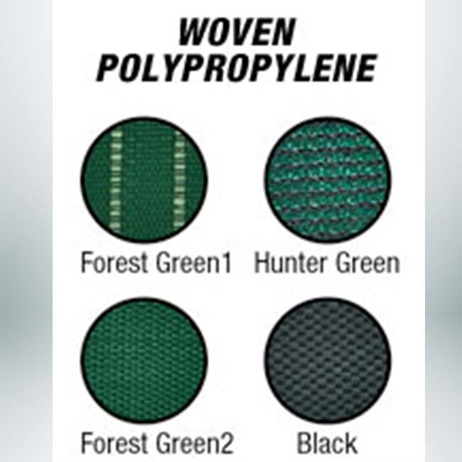 Custom windscreen colors green woven polypropylene.