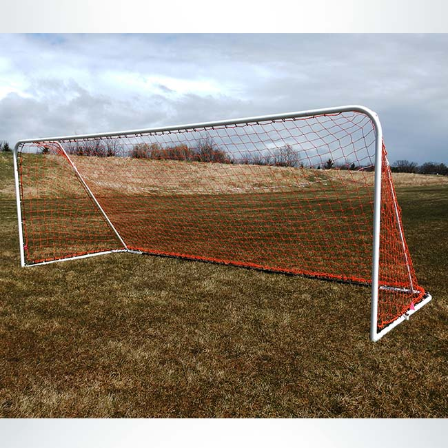 Model #FAS66186. 6'6in x 18'6in Soccer Goal with Red Net.