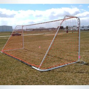 """Model #FAS66186. 6'6"""" x 18'6"""" soccer goal with red net."""