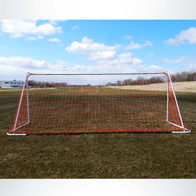 "Model #FAS66186. 6'6"" x 18'6"" soccer goal with red net."