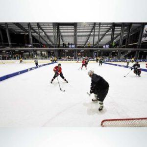 Model #FSP12. Portable padding boundary on hockey rink.