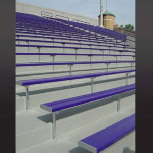 Grandstand stadium seating powder coated blue.